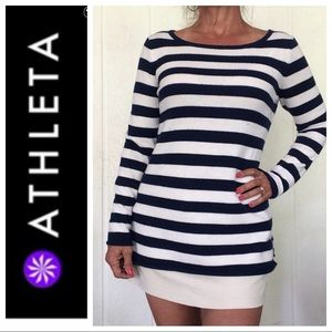 ATHLETA CASHMERE BLUE & WHITE STRIPED SWEATER MED